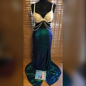 Rhinestoned, pearl, sequined mermaid costume